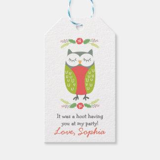 春のフクロウのメッセージカード ギフトタグ