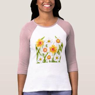 春のラッパスイセンの女性Raglanジャージー Tシャツ