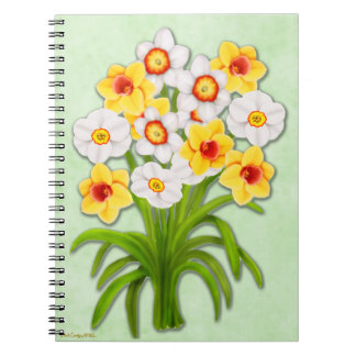春のラッパスイセンの花花束のノート ノートブック