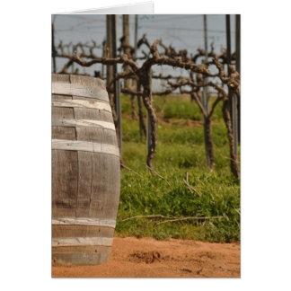 春のワインバレルそしてブドウ園 カード