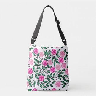 春の夏のカラフルなピンクの花のおもしろいおよび任意 クロスボディバッグ