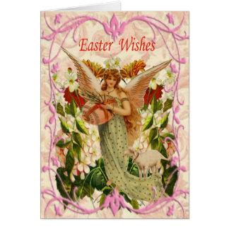春の庭の天使のイースターカード カード