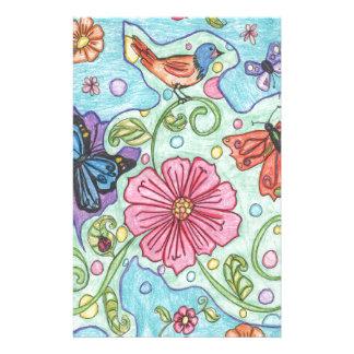 春の手描きの鳥そして花 便箋