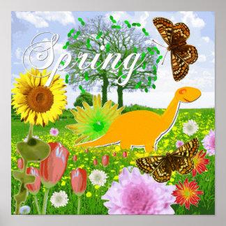 春の景色ポスタープリントのかわいい恐竜 ポスター