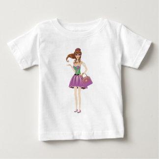 春の服のブルネット ベビーTシャツ
