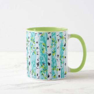 春の樺の木の森林のブルーバード マグカップ