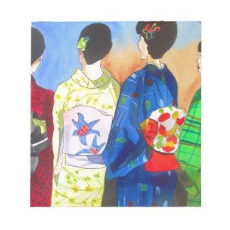 春の着物の日本のな芸者の芸術 ノートパッド