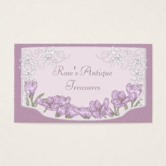 春の紫色のクロッカスの花 名刺