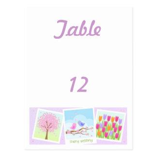 春の結婚式のテーブル数カード ポストカード