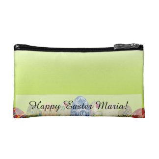 春の緑のかわいらしくパターン(の模様が)あるなイースターエッグ コスメティックバッグ