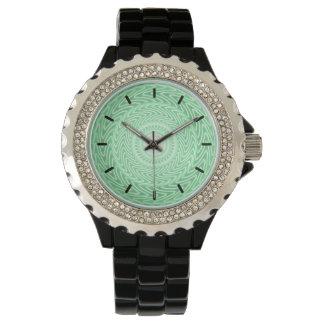 春の緑の円パターン 腕時計