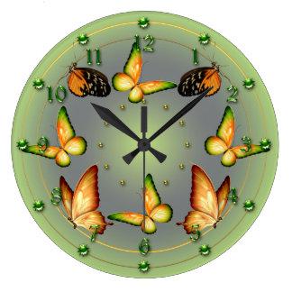 春の緑の蝶 ラージ壁時計