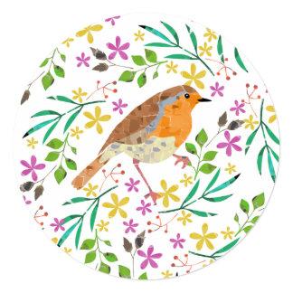 春の花およびロビン鳥 13.3 スクエアインビテーションカード