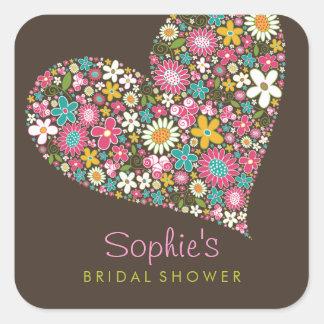 春の花のハート愛ブライダルシャワーの結婚 スクエアシール