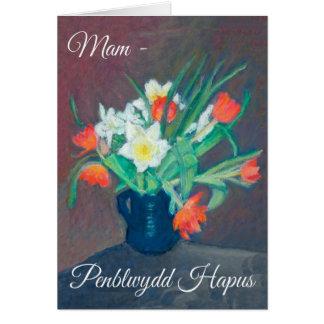 春の花のバースデー・カード、Mam: ウェールズの挨拶 カード