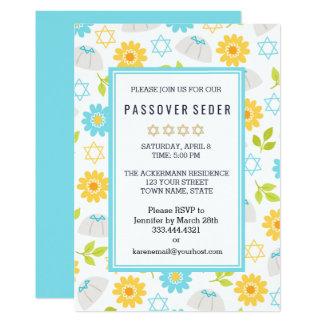 春の花の過ぎ越しの祝いのSedarの招待状 12.7 X 17.8 インビテーションカード