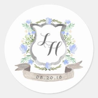 春の花の頂上の結婚式 ラウンドシール