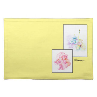春の花束の浮遊アイリス1布のランチョンマット ランチョンマット