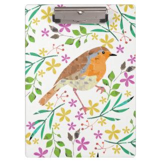 春の花模様およびロビン鳥 クリップボード
