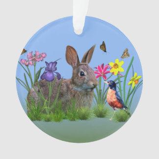 春の花、ロビンおよびバニーウサギ オーナメント