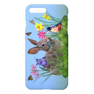 春の花、ロビンおよびバニーウサギ iPhone 8 PLUS/7 PLUSケース