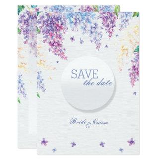 春の薄紫の花の花の結婚式の保存日付 12.7 X 17.8 インビテーションカード