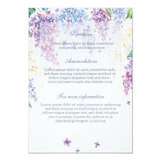春の薄紫の花の花の結婚式の方向 12.7 X 17.8 インビテーションカード