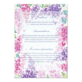 春の薄紫の花の花花柄の結婚 12.7 X 17.8 インビテーションカード