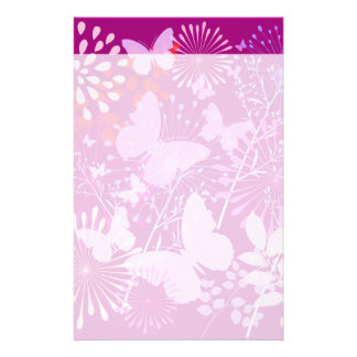 春の蝶庭の鮮やかな紫色のピンクのガーリー 便箋