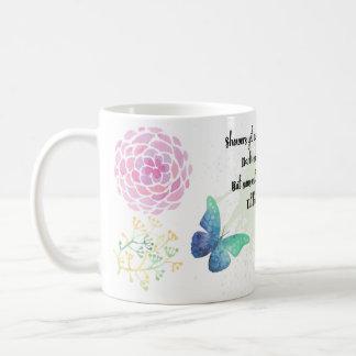 春の詩歌の花柄および蝶ギフトのマグ コーヒーマグカップ