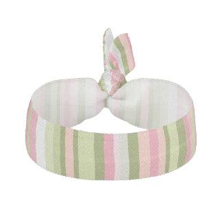 春の陰のピンクおよび緑のストライプなヘアタイ ヘアタイ