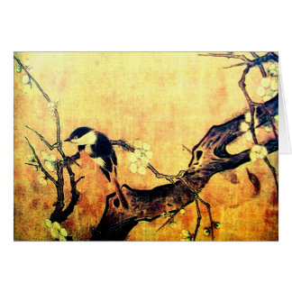 春の鳥、花の木、イースターエッグの羊皮紙 グリーティングカード