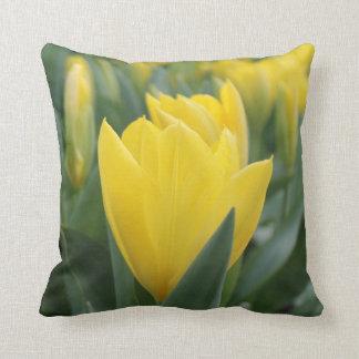 春の黄色いチューリップの装飾用クッション クッション