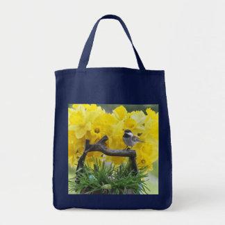 春の《鳥》アメリカゴガラの食料雑貨のトートバック トートバッグ