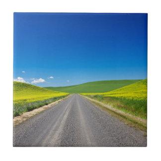春のCanola分野を通したBackcountryの道 タイル