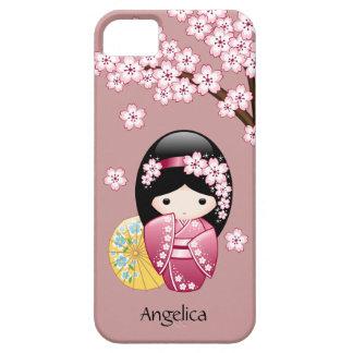 春のKokeshiの人形-ピンクのかわいく日本のな芸者 iPhone SE/5/5s ケース