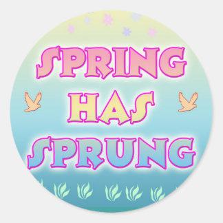 春ははねたステッカーを備えています ラウンドシール