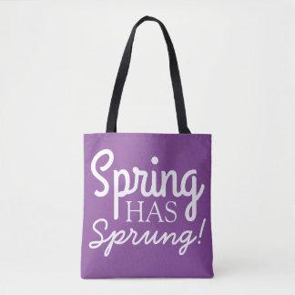 春ははねました! -紫色及び白の引用文のトートバック トートバッグ