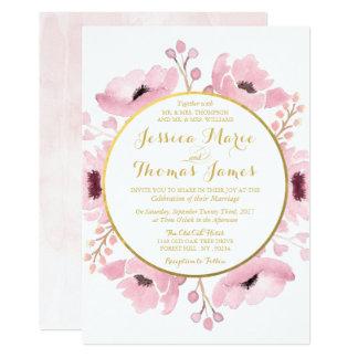 春は水彩画の花の結婚式のコレクションを飾ります 12.7 X 17.8 インビテーションカード