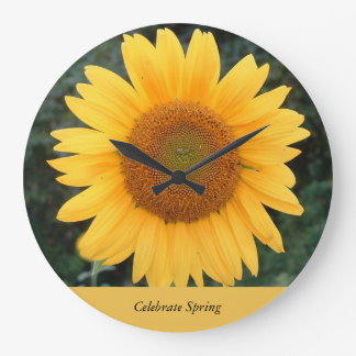 春を祝うヒマワリの時計 ラージ壁時計