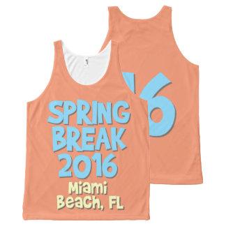 春休みの` 16% pipe% Miami BeachのFLタンク オールオーバープリントタンクトップ