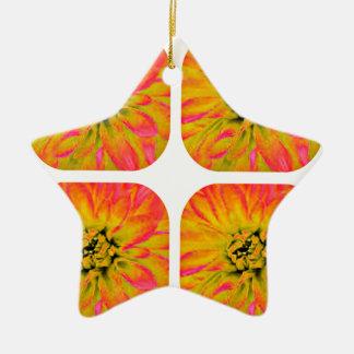 春及び夏の花のダリアの花模様 陶器製星型オーナメント