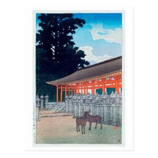春日神社の鹿、Kasugaの川瀬巴水のシカは奈良、Hasuiで社に祭ります はがき