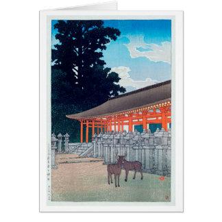 春日神社の鹿、Kasugaの川瀬巴水のシカは奈良、Hasuiで社に祭ります グリーティングカード