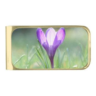 春03.3の紫色のクロッカス ゴールド マネークリップ