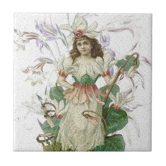 春1 -庭の天使 タイル