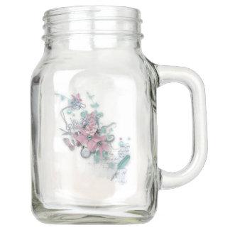 春-かわいらしい春の花模様 メイソンジャー