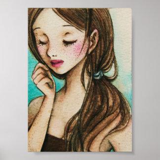 春(そばかすの水彩画の絵画) ポスター
