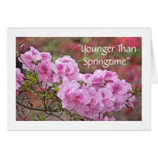 """""""春""""のより若いピンクのツツジの誕生日カリフォルニア カード"""
