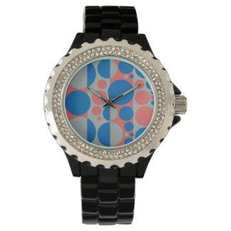 春、夏はポップアートの円3を着色します 腕時計